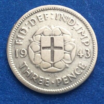 Rare 1943 King George Vi Silver Threepence Coin