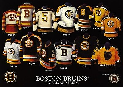 History Of The Jersey Boston Bruins 5X7 Photo