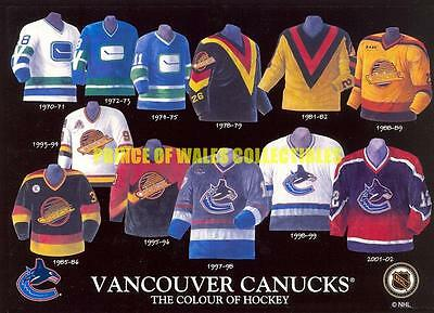 History Of The Jersey Vancouver Canucks 5X7 Photo