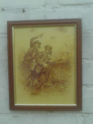 Framed original Watercolour painting of WW1 or WW2 Soldiers going into Battle