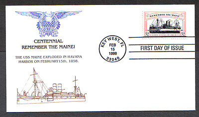 Us Fdc 1998 Centennial Remember The Maine 32C First Day Of Issue Cover Key West