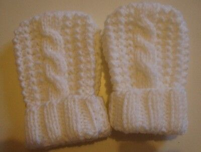 Hand Knitted Baby Mittens/Cable Design, Peach, 0-6 Mths, BNWOT,