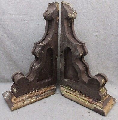 Antique Pair Wood Corbels Brackets Victorian Gingerbread Shabby Old Chic 18-17R