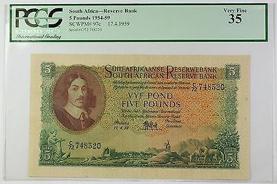 1954-59 17.4.1959 South Africa 5 Pounds Bank Note SCWPM# 97c PCGS VF-35 (F)