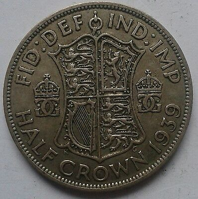 1939 King George VI Silver Half Crown Coin Great British Coin