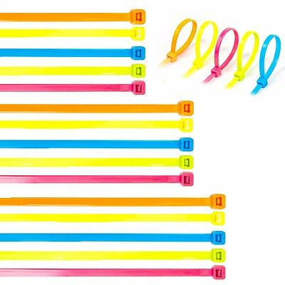 Small-Large FLUORESCENT COLOUR CABLE ZIP TIES 200/300/370mm Long Cord/Wire Wraps