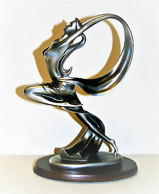 Vintage Art Deco Style Sculpture Dancer Girl with Ribbon Figurine Statue 11in