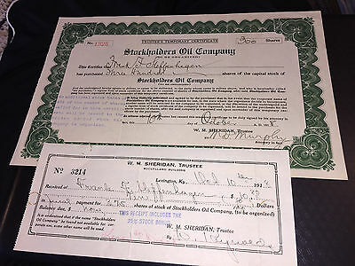 1918 Stockholders Oil Company Trustees Temporary Certificate