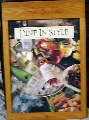 1980s Vintage Ernest & Julio Gallo Advertising Wooden Wine 'Dine In Style' Sign