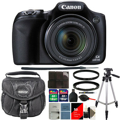 Canon PowerShot SX530 HS 16MP 50x Optical Zoom Digital Camera + 24GB Deluxe Kit
