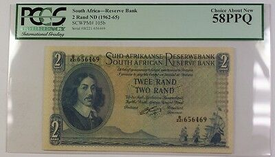 (1962-65) South Africa 2 Rand ND Reserve Bank Note SCWPM# 105b PCGS AU-58 PPQ B