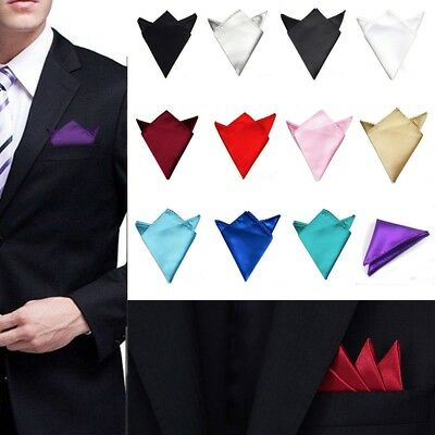 New Men's Satin Silk Pocket Square Hankie Hankerchief Wedding Party Formal Suit