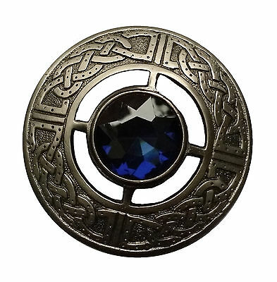 "Men's Celtic Brooch Fly Plaid Blue Stone Silver Antique Finish 3""/Kilt Fly Plaid"