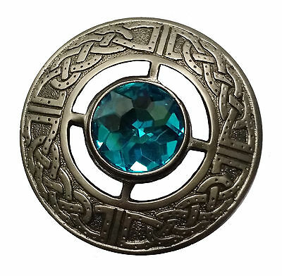 "New Men's Kilt Fly Plaid Brooch Sky Blue Stone Antique Finish 3""/Celtic Brooches"