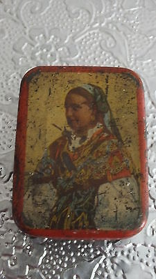 Very Old Vintage Small Tin With Picture Of Lady In Romany Dress On Fron