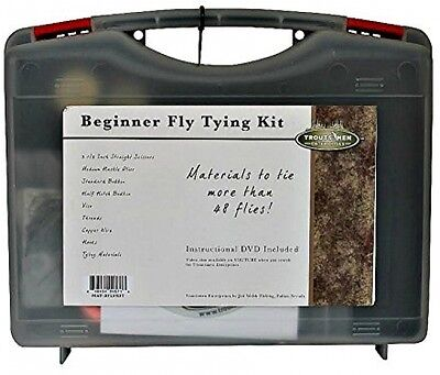 Fishing Basic Fly Tying Kit Art DVD Tie flies 4 tools1 Basic Vise carrying case