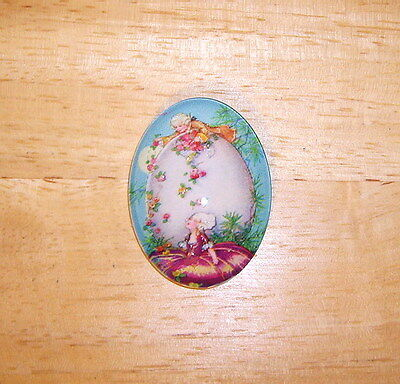 30X40mm Vintage Easter Glitter Unset Handmade Art Bubble Cameo Cabochon