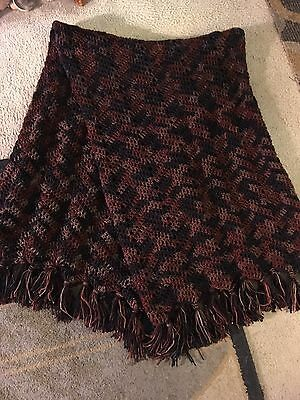 Brown Black And Rust Colored Afghan  .. Great Valentine Gift