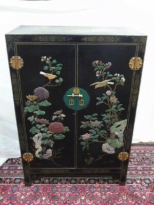 Vintage Chinese Lacquer & Gem Stone Carved 2-door Cabinet With Brass Key
