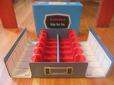 Vintage Metal HANIMEX Slide Set File Boxes holds 240 Slides Made In Australia