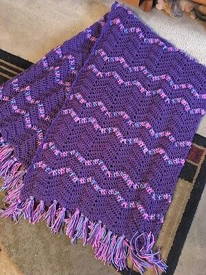 Purple With Pink Accent Afghan  .. Great Valentine  Gift!