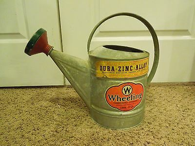 Vintage Wheeling Metal Watering Can w/ Original Labels 1508 8 QT Rose Attachment
