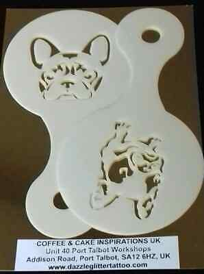 2 x French bulldog dog coffee cup stencil reusable Frenchie Crufts cafe present