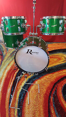 "Vintage-Rogers-Drum-Set-Top-Hat-4-pc-Green-Sparkle-20""Bass"