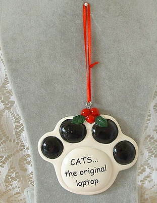 New Tumbleweed Pottery Cats the Original Laptop Pawprint Christmas Ornament