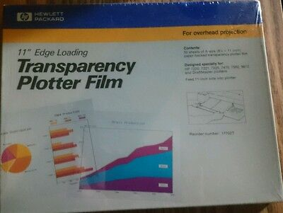 """HP TRANSPARENCY PLOTTER FILM 11"""" EDGE LOADING 50 Sheets sealed package NEW"""