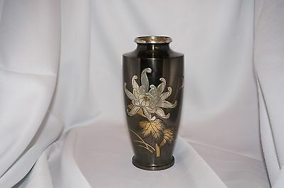 Antique Japanese Mixed Metal Vase Bronze Silver Gold Signed Meiji? Estate Find