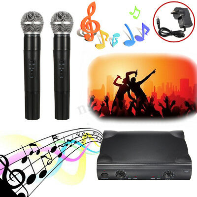 AU VHF PROFESSIONAL WIRELESS Microphone System Handheld 2 CORDLESS MIC Receiver