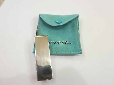 100% AUTHENTIC  Tiffany Co Sterling Silver Plain Money Clip with Pouch