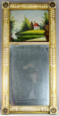 Antique Gold Split Column Federal Mirror Reverse Painted Cottage Boat Scene