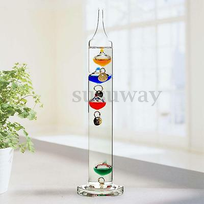 18cm Tall Free Standing Clear Glass Galileo Thermometer Temperature Indicator