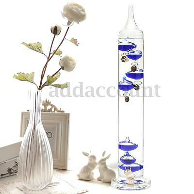 30cm Galileo Thermometer Temperature Floats Glass Home Decor 18-28 Degrees