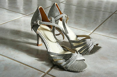 $120 Ladies Handmade Dance Shoes, Silver Glitter, Ankle Strap, Sz 37 Eu, 6.5 Us