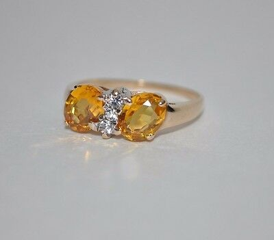 Estate Vintage 10k Yellow Gold with 2 Oval Citrine Stones Ring Size 7