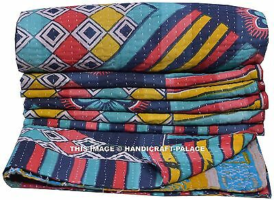 Vintage Kantha Quilt Authentic Throw Single Indian Cotton Reversible Blanket Art