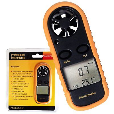 Digital Wind Speed Meter Anemometer Thermometer °F / °C Air Flow Gauge Surf Sail
