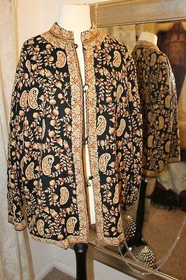 Vintage kashmiri black gold hand embroidered jacket - Ditsy Vintage - M Crewel