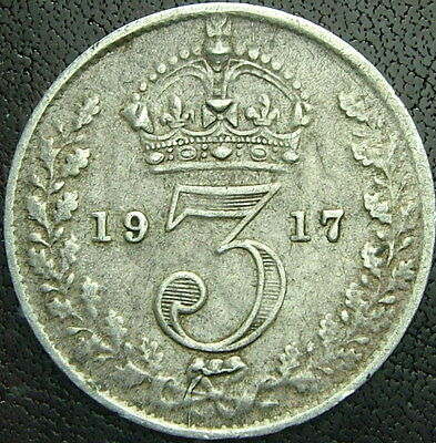 1917  United Kingdom   Three Pence   Georgius V