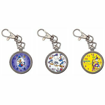 Donald Duck Silver Key Ring Chain Pocket Watch