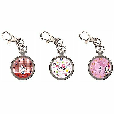 Kitty Silver Key Ring Chain Pocket Watch