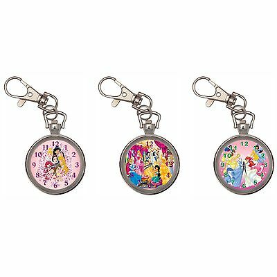 Disney Princesses Silver Key Ring Chain Pocket Watch