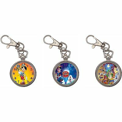 Pinocchio Silver Key Ring Chain Pocket Watch