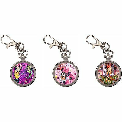 Minnie Silver Key Ring Chain Pocket Watch