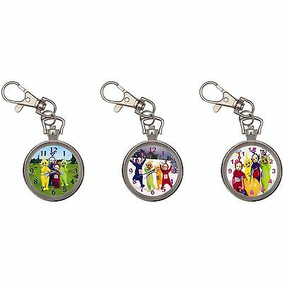 Teletubbies Silver Key Ring Chain Pocket Watch
