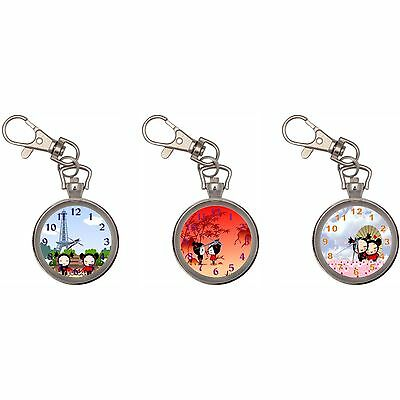 Pucca Silver Key Ring Chain Pocket Watch