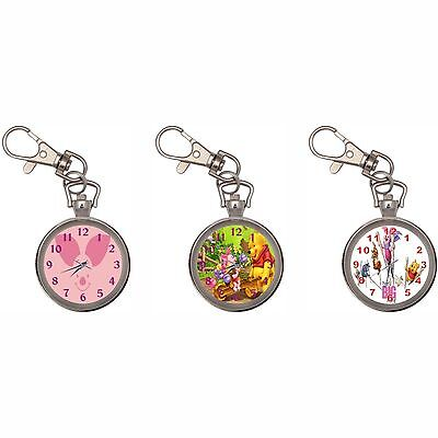 Piglet Silver Key Ring Chain Pocket Watch